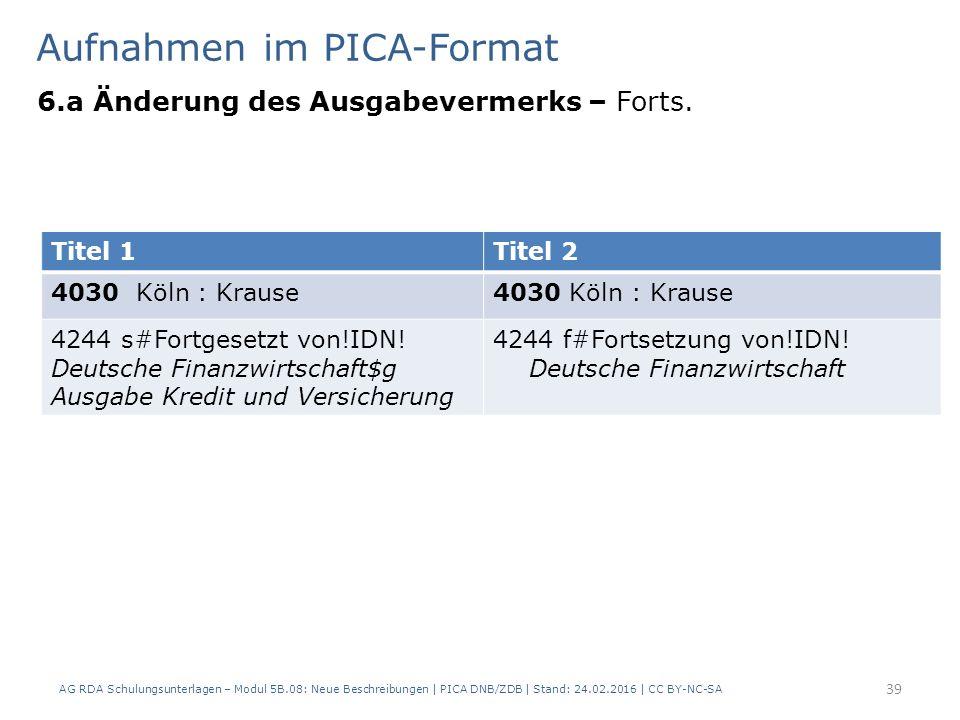 Aufnahmen im PICA-Format 6.a Änderung des Ausgabevermerks – Forts. AG RDA Schulungsunterlagen – Modul 5B.08: Neue Beschreibungen | PICA DNB/ZDB | Stan