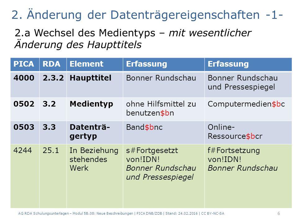 6 2. Änderung der Datenträgereigenschaften -1- 2.a Wechsel des Medientyps – mit wesentlicher Änderung des Haupttitels PICARDAElementErfassung 40002.3.