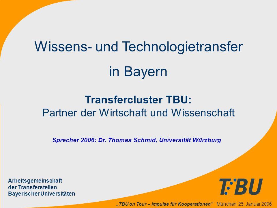 """""""TBU on Tour – Impulse für Kooperationen"""" München, 25. Januar 2006 Wissens- und Technologietransfer in Bayern Transfercluster TBU: Partner der Wirtsch"""