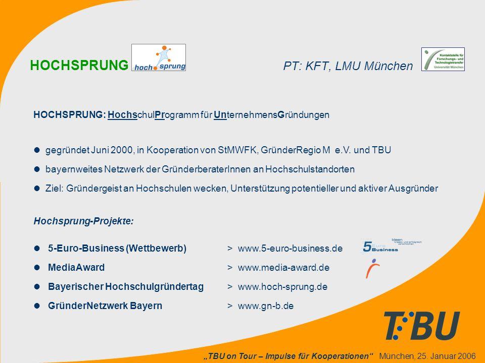 """""""TBU on Tour – Impulse für Kooperationen"""" München, 25. Januar 2006 HOCHSPRUNG PT: KFT, LMU München HOCHSPRUNG: HochschulProgramm für UnternehmensGründ"""