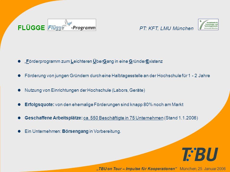 """""""TBU on Tour – Impulse für Kooperationen"""" München, 25. Januar 2006 l""""Förderprogramm zum Leichteren ÜberGang in eine GründerExistenz lFörderung von jun"""