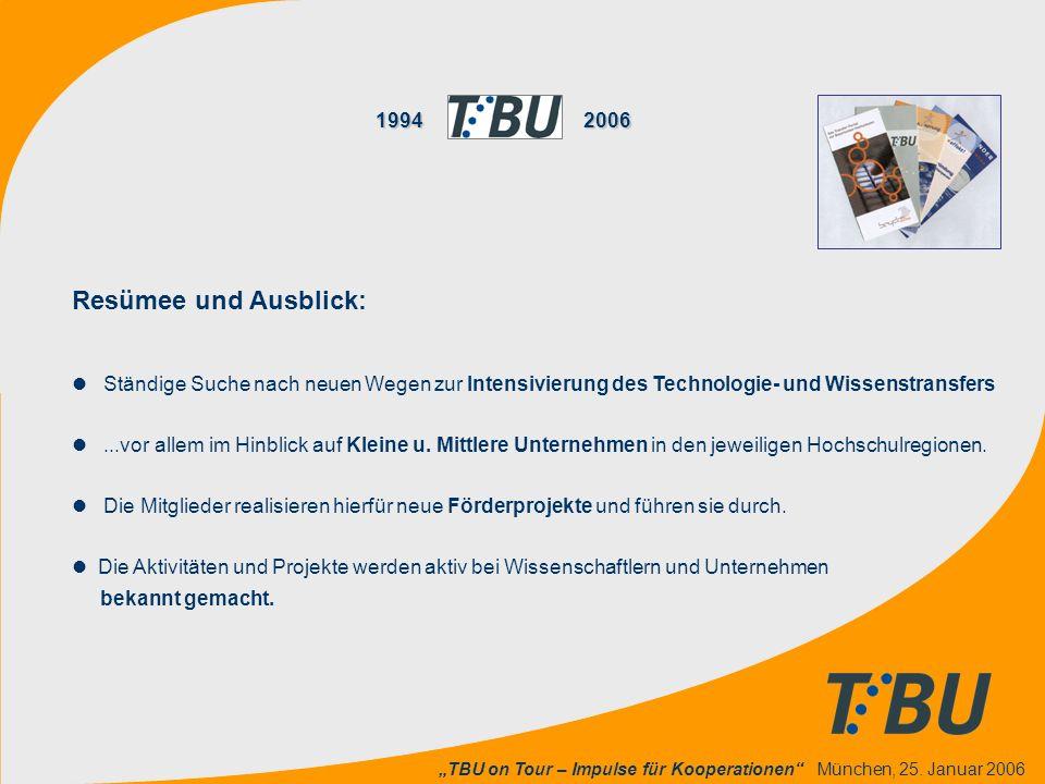 """""""TBU on Tour – Impulse für Kooperationen"""" München, 25. Januar 2006 19942006 1994 2006 Resümee und Ausblick: l Ständige Suche nach neuen Wegen zur Inte"""