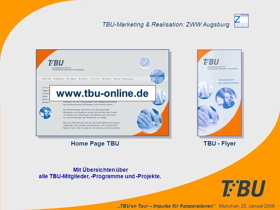 """""""TBU on Tour – Impulse für Kooperationen"""" München, 25. Januar 2006 TBU-Marketing & Realisation: ZWW Augsburg Home Page TBU TBU - Flyer Mit Übersichten"""