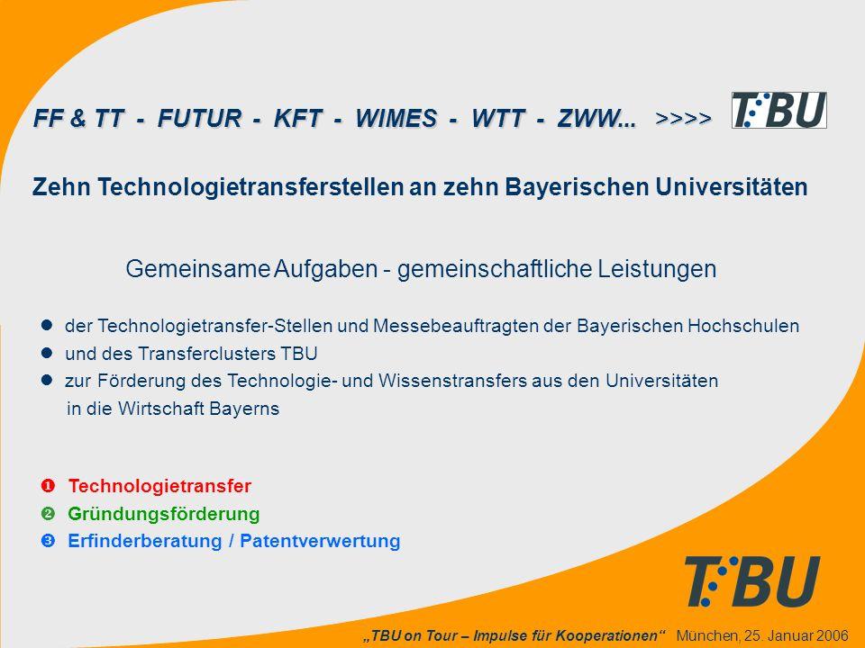 """""""TBU on Tour – Impulse für Kooperationen"""" München, 25. Januar 2006  Technologietransfer  Gründungsförderung  Erfinderberatung / Patentverwertung Ze"""