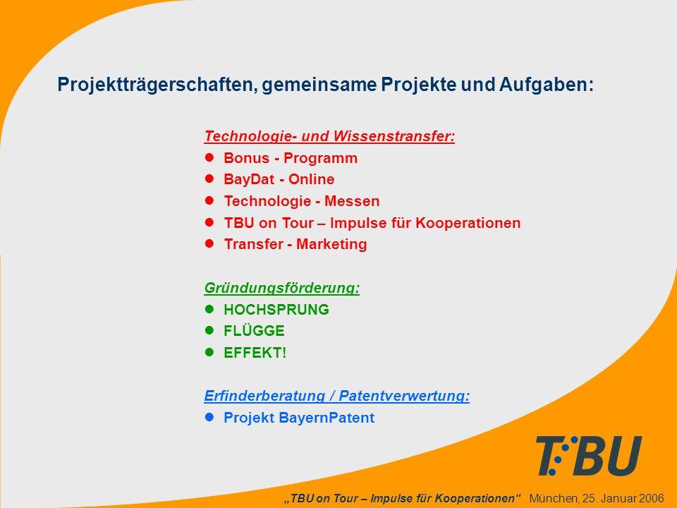 """""""TBU on Tour – Impulse für Kooperationen"""" München, 25. Januar 2006 Projektträgerschaften, gemeinsame Projekte und Aufgaben: Technologie- und Wissenstr"""