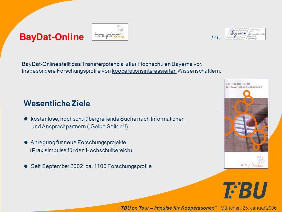 """""""TBU on Tour – Impulse für Kooperationen"""" München, 25. Januar 2006 BayDat-Online PT: Wesentliche Ziele l kostenlose, hochschulübergreifende Suche nach"""