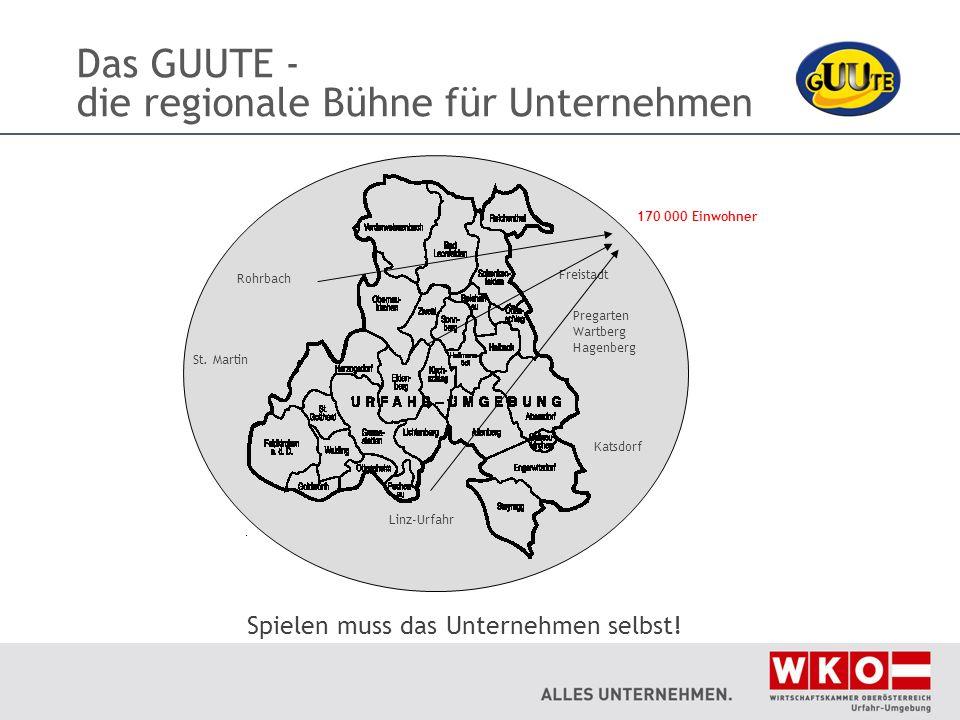 Das GUUTE - die regionale Bühne für Unternehmen Spielen muss das Unternehmen selbst! 170 000 Einwohner Freistadt St. Martin Pregarten Wartberg Hagenbe
