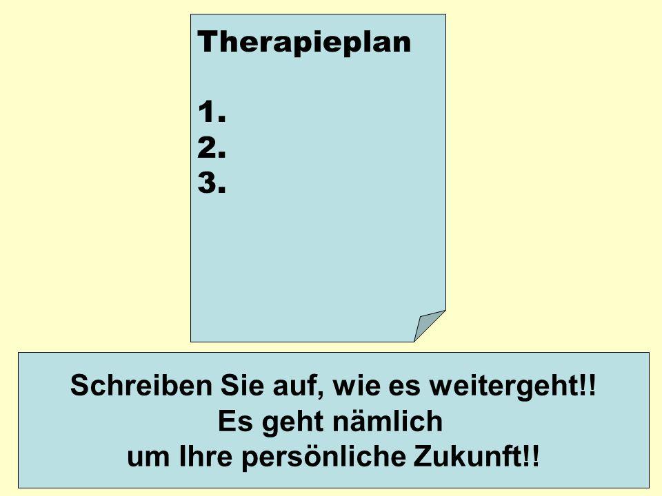 Therapieplan 1. 2. 3. Schreiben Sie auf, wie es weitergeht!! Es geht nämlich um Ihre persönliche Zukunft!!