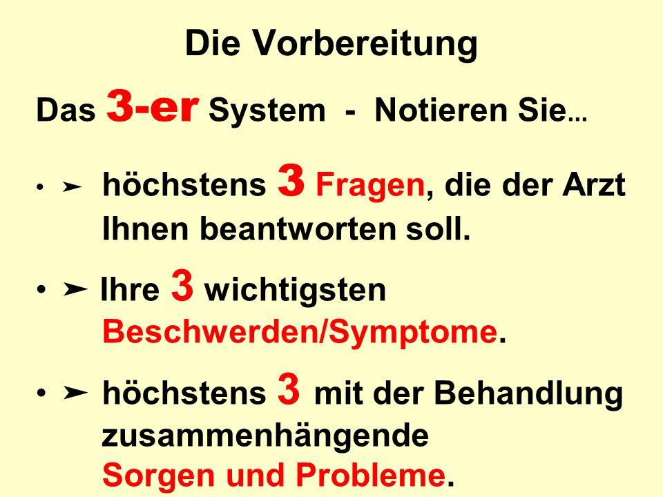 Die Vorbereitung Das 3-er System - Notieren Sie... ➤ höchstens 3 Fragen, die der Arzt Ihnen beantworten soll. ➤ Ihre 3 wichtigsten Beschwerden/Symptom