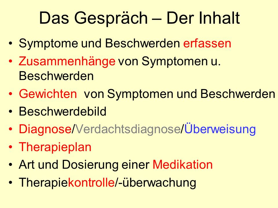 Das Gespräch – Der Inhalt Symptome und Beschwerden erfassen Zusammenhänge von Symptomen u.