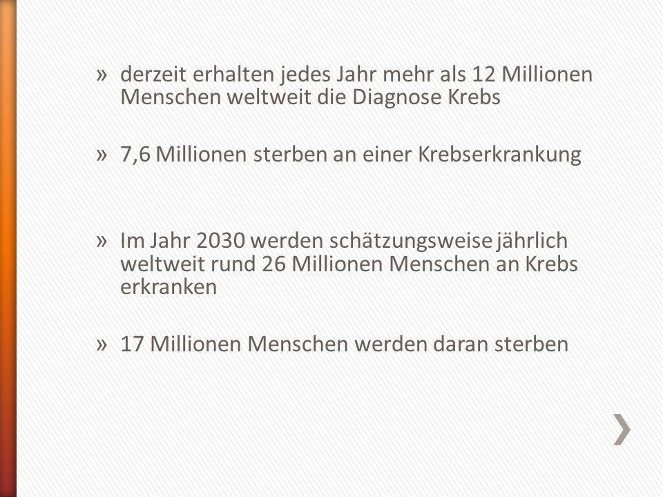 » derzeit erhalten jedes Jahr mehr als 12 Millionen Menschen weltweit die Diagnose Krebs » 7,6 Millionen sterben an einer Krebserkrankung » Im Jahr 20