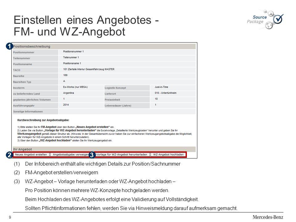 9 32 (1)Der Infobereich enthält alle wichtigen Details zur Position/Sachnummer (2)FM-Angebot erstellen/verweigern (3)WZ-Angebot – Vorlage herunterladen oder WZ-Angebot hochladen – Pro Position können mehrere WZ-Konzepte hochgeladen werden.