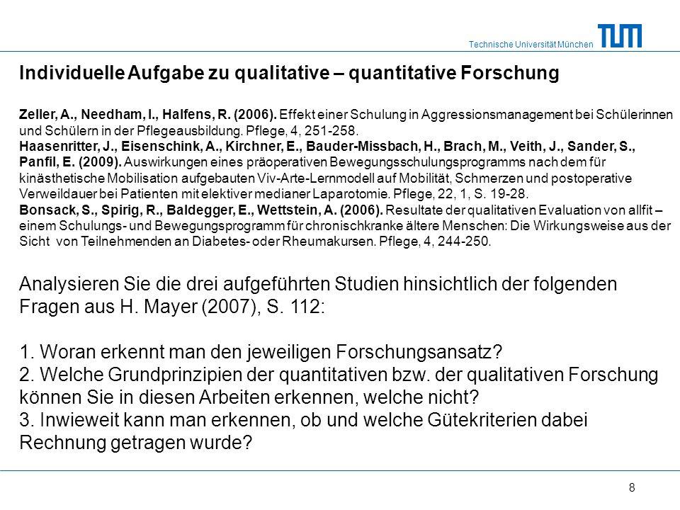 Technische Universität München 8 Individuelle Aufgabe zu qualitative – quantitative Forschung Zeller, A., Needham, I., Halfens, R.