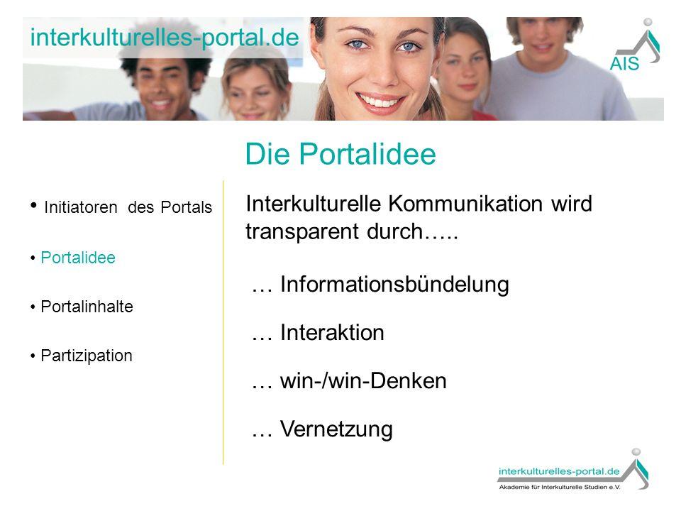 Inhalte Initiatoren des Portals Portalidee Portalinhalte Partizipation Anbietersuche Wissensdatenbanken (u.a.