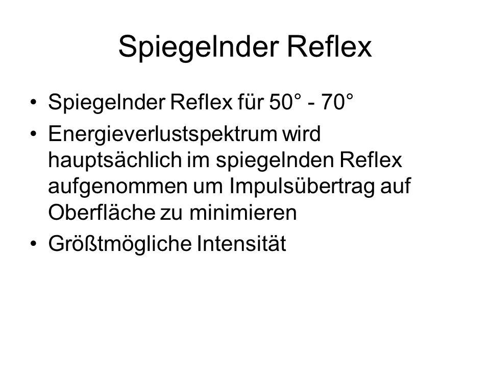 Spiegelnder Reflex Spiegelnder Reflex für 50° - 70° Energieverlustspektrum wird hauptsächlich im spiegelnden Reflex aufgenommen um Impulsübertrag auf Oberfläche zu minimieren Größtmögliche Intensität