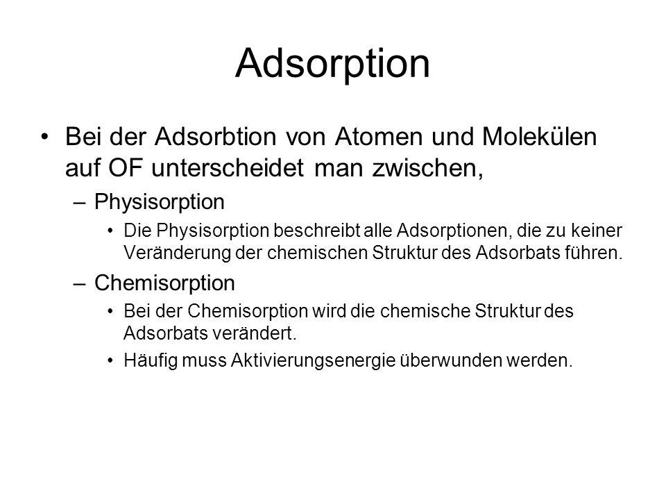 Adsorption Bei der Adsorbtion von Atomen und Molekülen auf OF unterscheidet man zwischen, –Physisorption Die Physisorption beschreibt alle Adsorptionen, die zu keiner Veränderung der chemischen Struktur des Adsorbats führen.