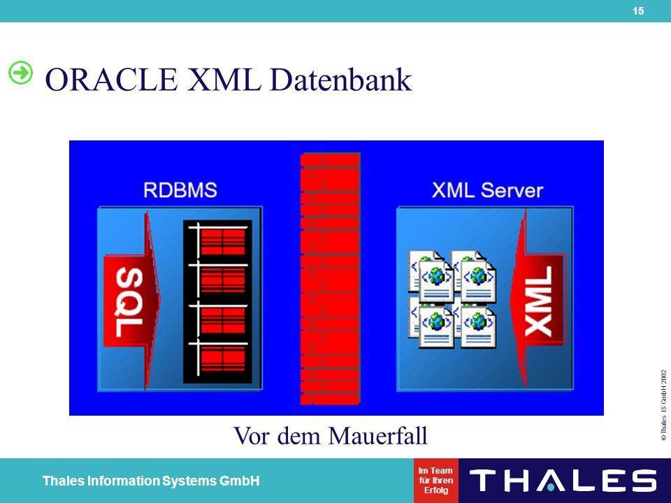 15 © Thales IS GmbH 2002 Thales Information Systems GmbH Im Team für Ihren Erfolg ORACLE XML Datenbank Vor dem Mauerfall