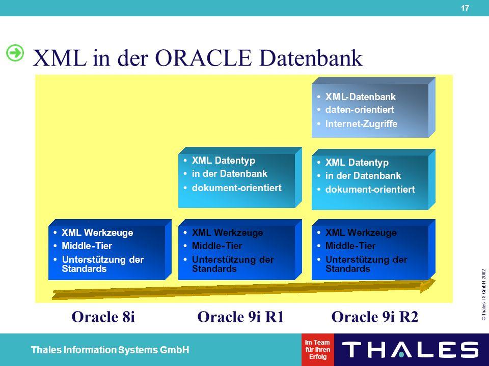 17 © Thales IS GmbH 2002 Thales Information Systems GmbH Im Team für Ihren Erfolg XML in der ORACLE Datenbank Oracle 8iOracle 9i R1Oracle 9i R2