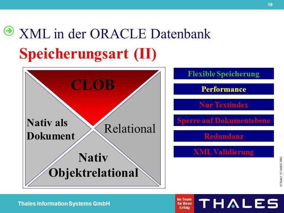 19 © Thales IS GmbH 2002 Thales Information Systems GmbH Im Team für Ihren Erfolg XML in der ORACLE Datenbank Speicherungsart (II) Nativ alsDokument Nativ Objektrelational CLOB Relational Flexible Speicherung Performance Nur Textindex Sperre auf Dokumentebene Redundanz XML Validierung