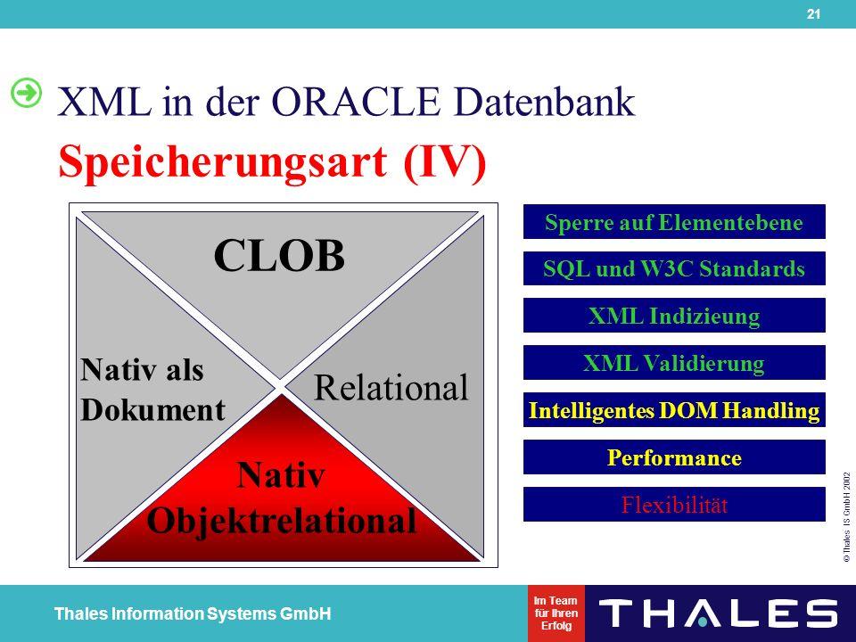 21 © Thales IS GmbH 2002 Thales Information Systems GmbH Im Team für Ihren Erfolg XML in der ORACLE Datenbank Speicherungsart (IV) Nativ alsDokument Nativ Objektrelational CLOB Relational Flexibilität Sperre auf Elementebene SQL und W3C Standards XML Indizieung XML Validierung Intelligentes DOM Handling Performance