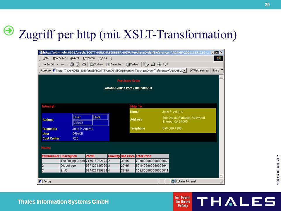 25 © Thales IS GmbH 2002 Thales Information Systems GmbH Im Team für Ihren Erfolg Zugriff per http (mit XSLT-Transformation)