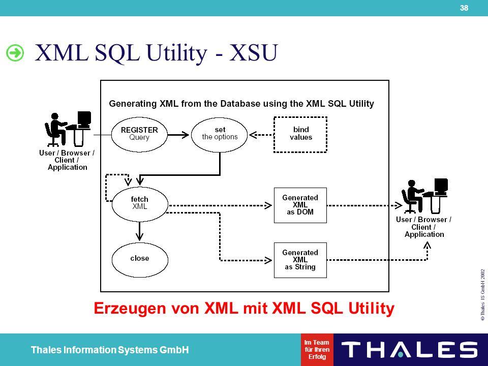 38 © Thales IS GmbH 2002 Thales Information Systems GmbH Im Team für Ihren Erfolg XML SQL Utility - XSU Erzeugen von XML mit XML SQL Utility