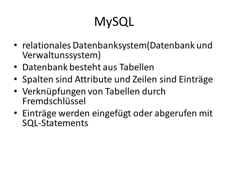 MySQL relationales Datenbanksystem(Datenbank und Verwaltunssystem) Datenbank besteht aus Tabellen Spalten sind Attribute und Zeilen sind Einträge Verknüpfungen von Tabellen durch Fremdschlüssel Einträge werden eingefügt oder abgerufen mit SQL-Statements