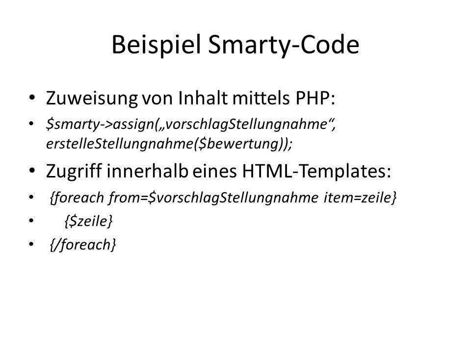 """Beispiel Smarty-Code Zuweisung von Inhalt mittels PHP: $smarty->assign(""""vorschlagStellungnahme , erstelleStellungnahme($bewertung)); Zugriff innerhalb eines HTML-Templates: {foreach from=$vorschlagStellungnahme item=zeile} {$zeile} {/foreach}"""