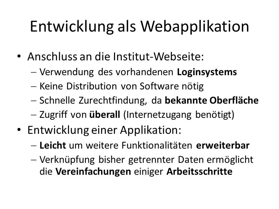 Entwicklung als Webapplikation Anschluss an die Institut-Webseite:  Verwendung des vorhandenen Loginsystems  Keine Distribution von Software nötig 