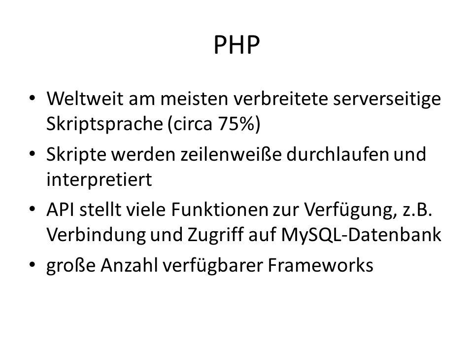 PHP Weltweit am meisten verbreitete serverseitige Skriptsprache (circa 75%) Skripte werden zeilenweiße durchlaufen und interpretiert API stellt viele Funktionen zur Verfügung, z.B.