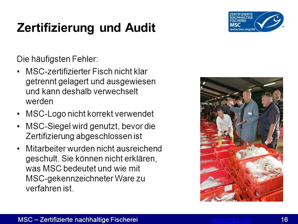 MSC – Zertifizierte nachhaltige Fischereiwww.msc.org 16www.msc.org Zertifizierung und Audit Die häufigsten Fehler: MSC-zertifizierter Fisch nicht klar getrennt gelagert und ausgewiesen und kann deshalb verwechselt werden MSC-Logo nicht korrekt verwendet MSC-Siegel wird genutzt, bevor die Zertifizierung abgeschlossen ist Mitarbeiter wurden nicht ausreichend geschult.
