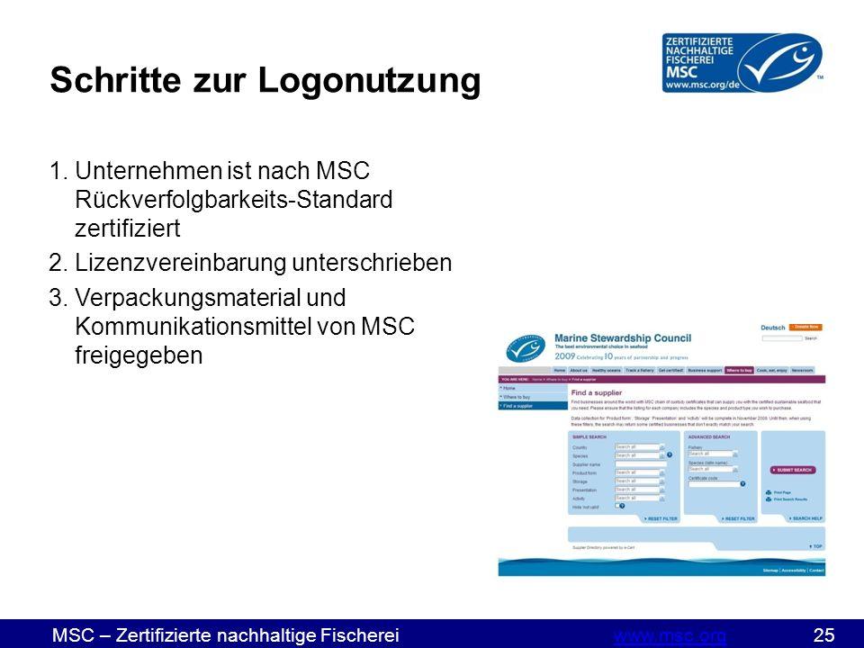 MSC – Zertifizierte nachhaltige Fischereiwww.msc.org 25www.msc.org Schritte zur Logonutzung 1.Unternehmen ist nach MSC Rückverfolgbarkeits-Standard zertifiziert 2.Lizenzvereinbarung unterschrieben 3.Verpackungsmaterial und Kommunikationsmittel von MSC freigegeben