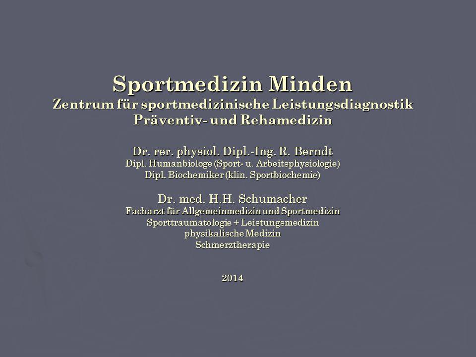 Sportmedizin Minden Zentrum für sportmedizinische Leistungsdiagnostik Präventiv- und Rehamedizin Dr.
