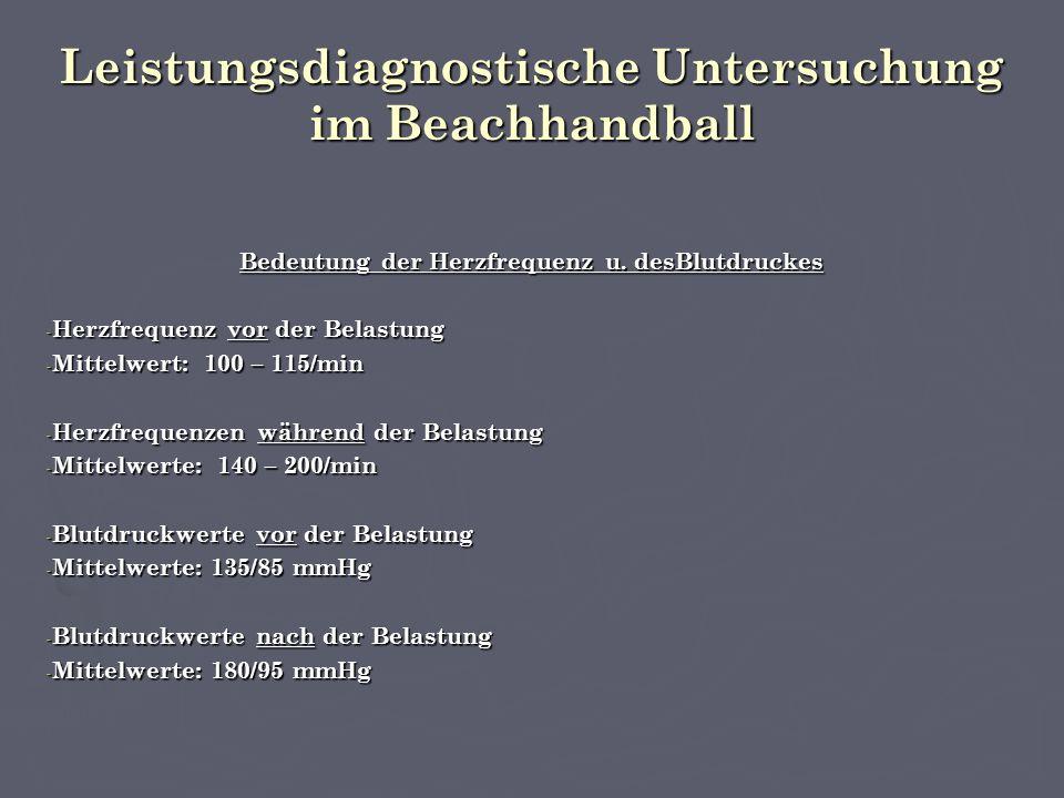 Leistungsdiagnostische Untersuchung im Beachhandball Bedeutung der Herzfrequenz u.