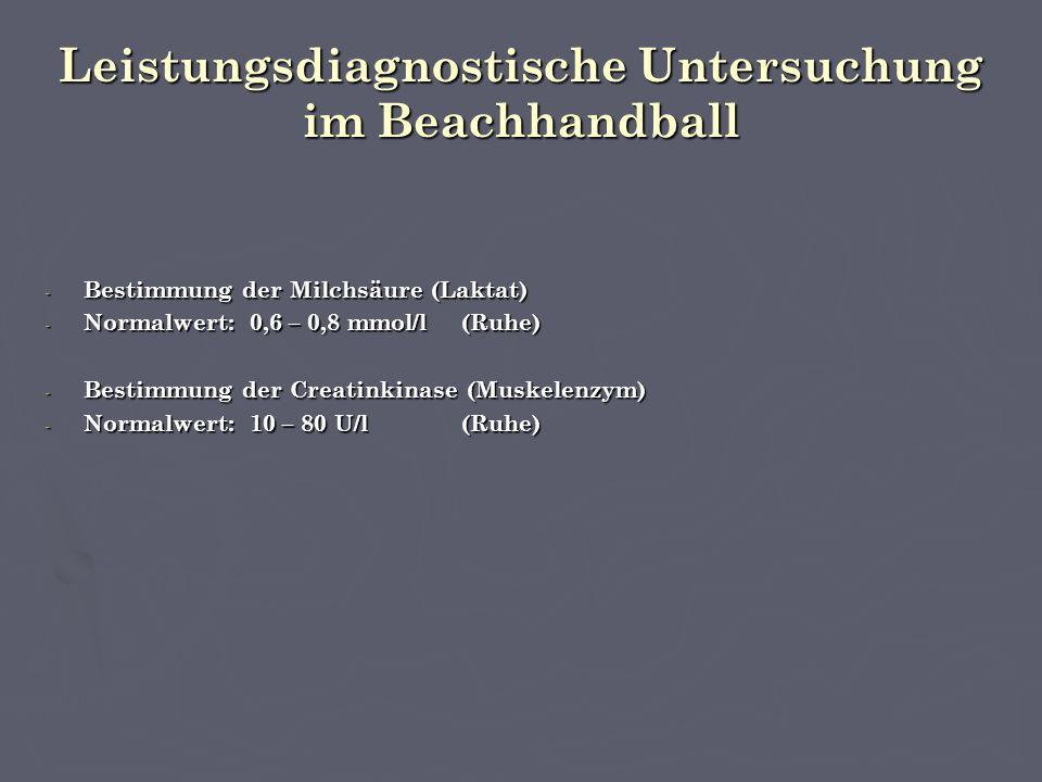 Leistungsdiagnostische Untersuchung im Beachhandball - Bestimmung der Milchsäure (Laktat) - Normalwert: 0,6 – 0,8 mmol/l(Ruhe) - Bestimmung der Creatinkinase (Muskelenzym) - Normalwert: 10 – 80 U/l(Ruhe)