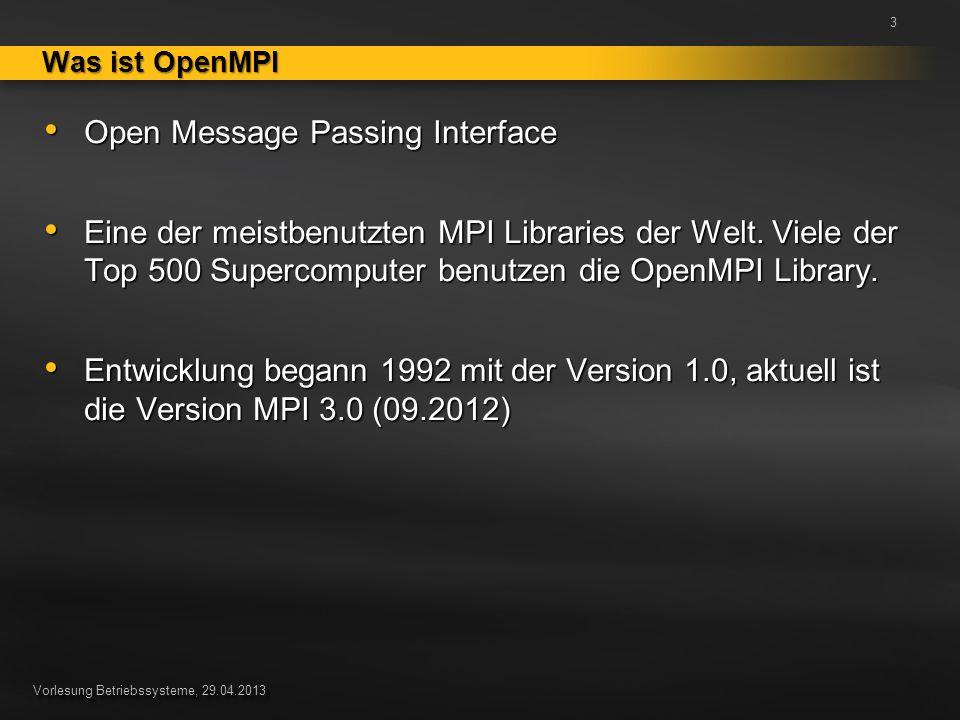 Vorlesung Betriebssysteme, 29.04.2013 Open Message Passing Interface Open Message Passing Interface Eine der meistbenutzten MPI Libraries der Welt. Vi