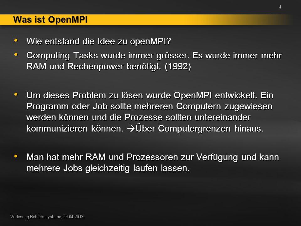 Vorlesung Betriebssysteme, 29.04.2013 Ein Standard, der den Nachrichtenaustausch bei parallelen Berechnungen auf verteilten Computersystemen beschreibt.