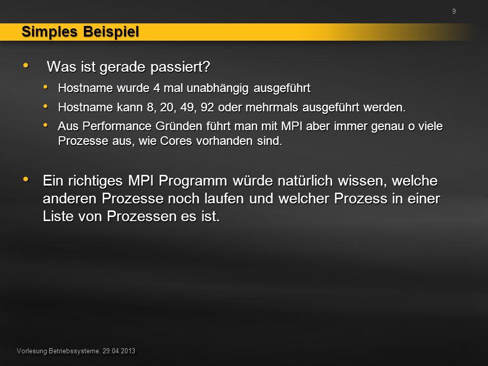 Vorlesung Betriebssysteme, 29.04.2013 Was ist gerade passiert.