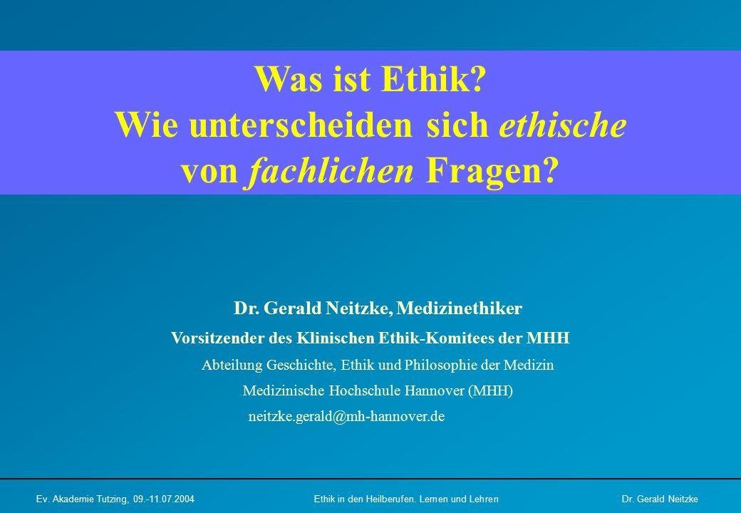 Dr. Gerald Neitzke, Medizinethiker Vorsitzender des Klinischen Ethik-Komitees der MHH Abteilung Geschichte, Ethik und Philosophie der Medizin Medizini