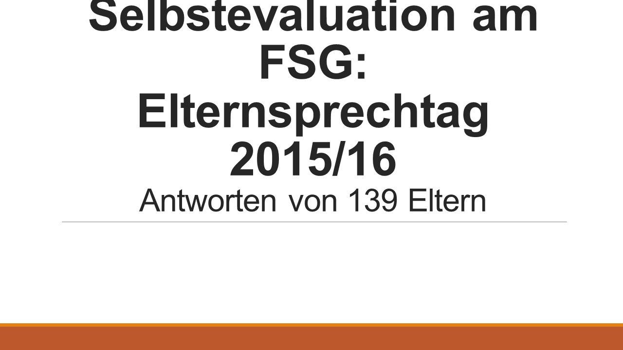 Selbstevaluation am FSG: Elternsprechtag 2015/16 Antworten von 139 Eltern