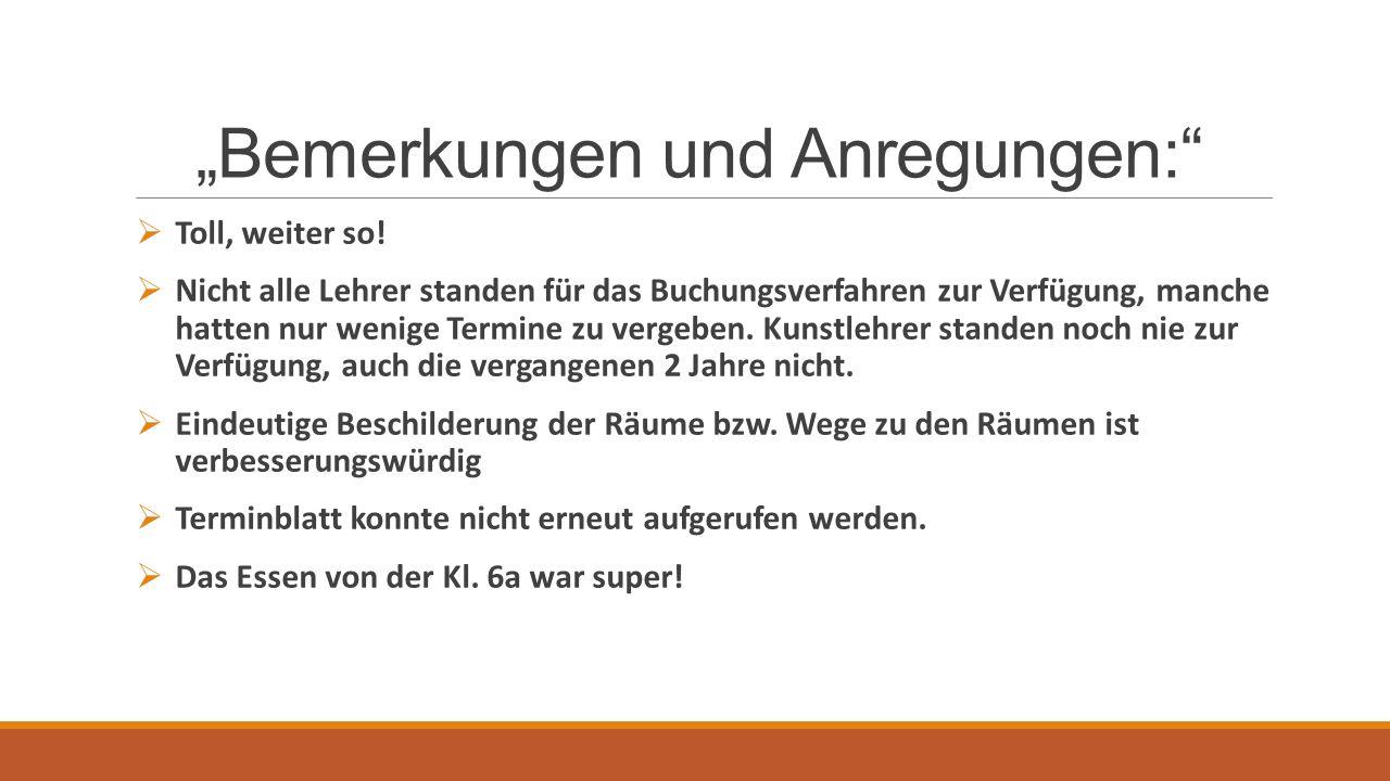 """""""Bemerkungen und Anregungen:  Toll, weiter so."""