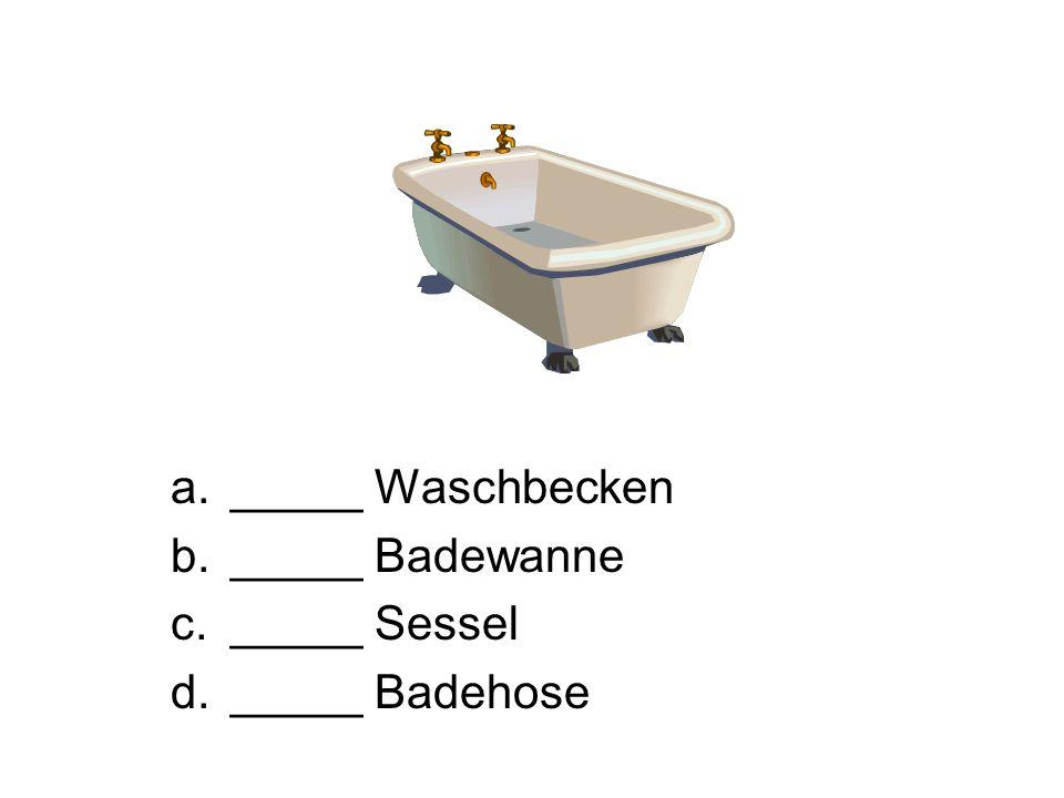a._____ Waschbecken b._____ Badewanne c._____ Sessel d._____ Badehose