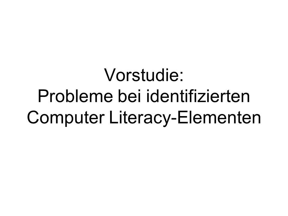 Vorstudie: Probleme bei identifizierten Computer Literacy-Elementen
