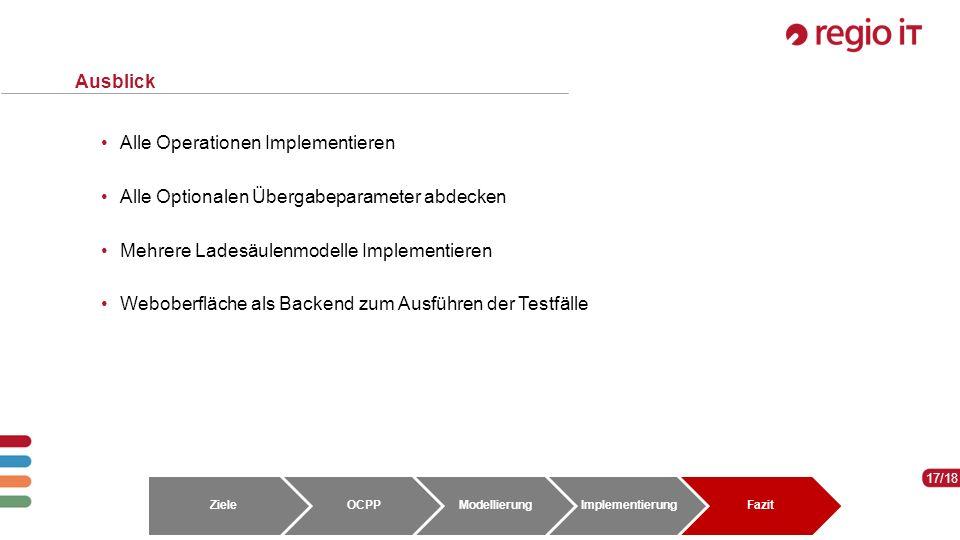 17 17/18 Ausblick Alle Operationen Implementieren Alle Optionalen Übergabeparameter abdecken Mehrere Ladesäulenmodelle Implementieren Weboberfläche als Backend zum Ausführen der Testfälle ZieleOCPPModellierungImplementierungFazit