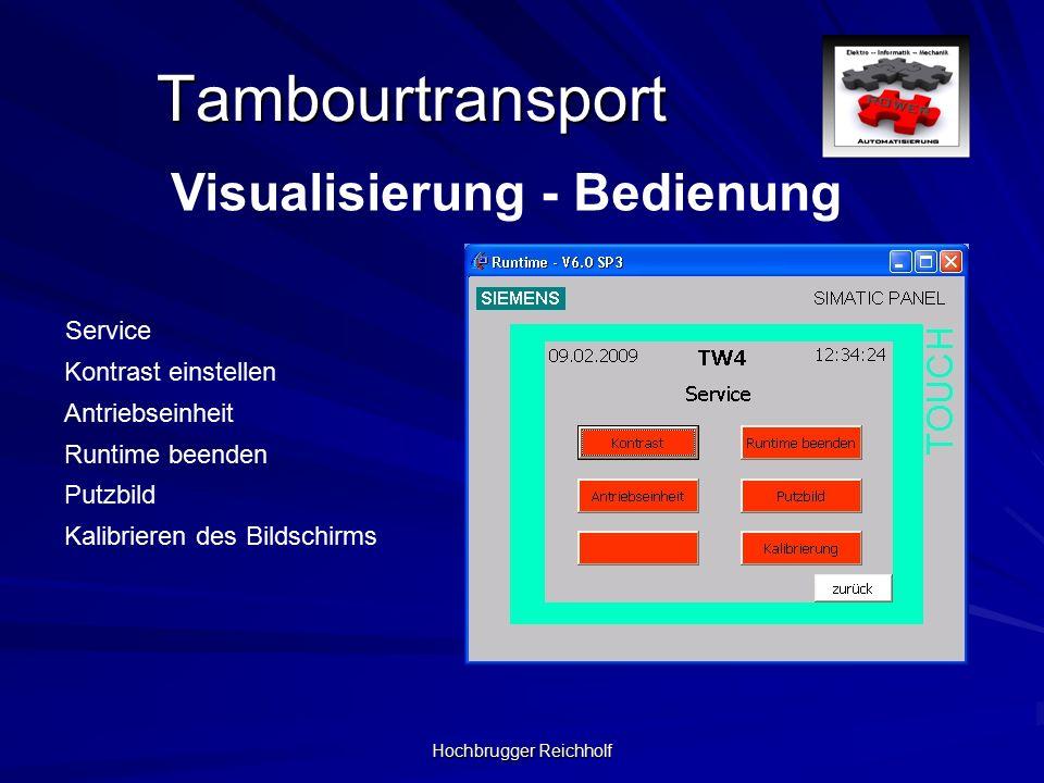 Hochbrugger Reichholf Tambourtransport Visualisierung - Bedienung Runtime beenden Service Kontrast einstellen Antriebseinheit Putzbild Kalibrieren des Bildschirms
