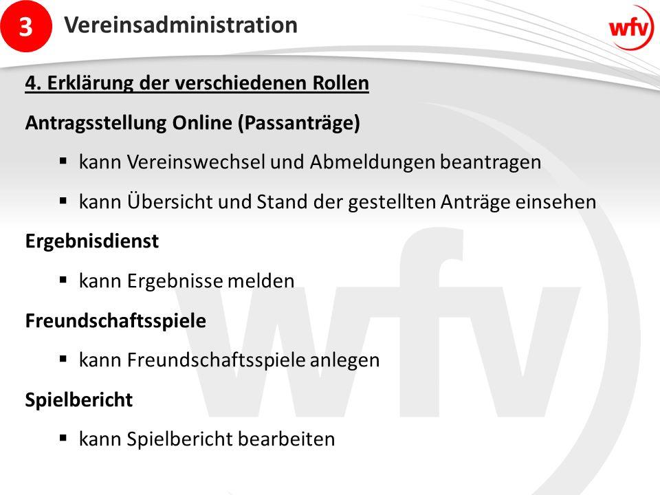 3 Vereinsadministration 4. Erklärung der verschiedenen Rollen Antragsstellung Online (Passanträge)  kann Vereinswechsel und Abmeldungen beantragen 