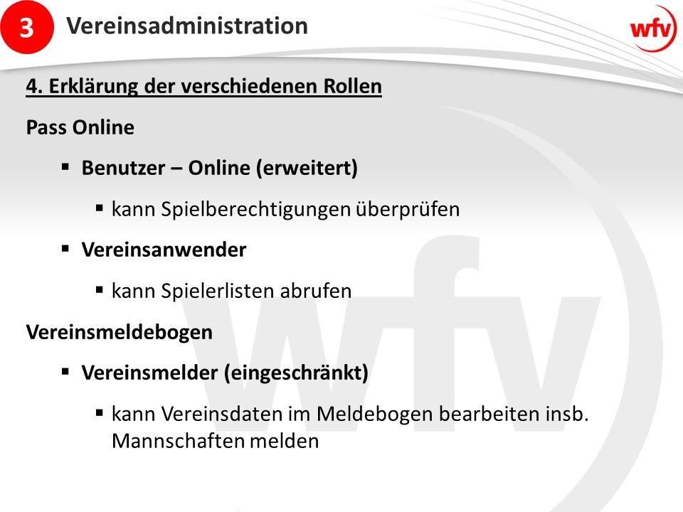 3 Vereinsadministration 4. Erklärung der verschiedenen Rollen Pass Online  Benutzer – Online (erweitert)  kann Spielberechtigungen überprüfen  Vere