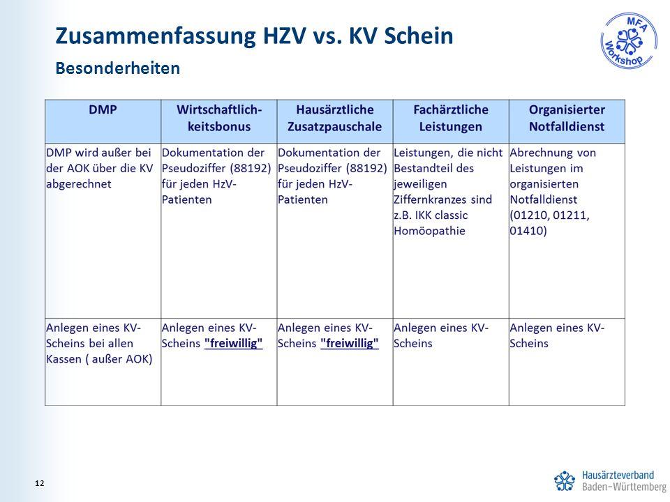 Zusammenfassung HZV vs. KV Schein Besonderheiten 12