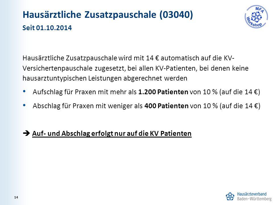 Hausärztliche Zusatzpauschale (03040) Hausärztliche Zusatzpauschale wird mit 14 € automatisch auf die KV- Versichertenpauschale zugesetzt, bei allen KV-Patienten, bei denen keine hausarztuntypischen Leistungen abgerechnet werden Aufschlag für Praxen mit mehr als 1.200 Patienten von 10 % (auf die 14 €) Abschlag für Praxen mit weniger als 400 Patienten von 10 % (auf die 14 €)  Auf- und Abschlag erfolgt nur auf die KV Patienten Seit 01.10.2014 14