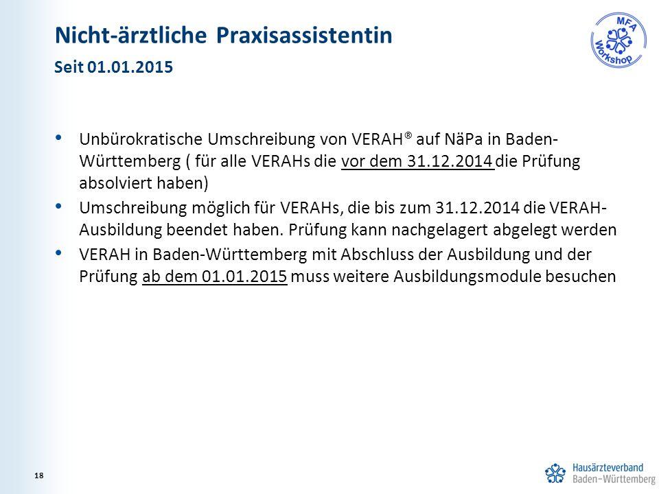 Nicht-ärztliche Praxisassistentin Unbürokratische Umschreibung von VERAH® auf NäPa in Baden- Württemberg ( für alle VERAHs die vor dem 31.12.2014 die Prüfung absolviert haben) Umschreibung möglich für VERAHs, die bis zum 31.12.2014 die VERAH- Ausbildung beendet haben.